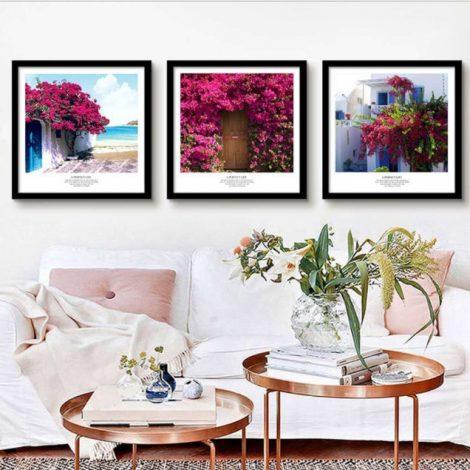 Bộ 3 khung tranh giàn hoa giấy (size 43 * 43cm) và (size 38 *53cm)