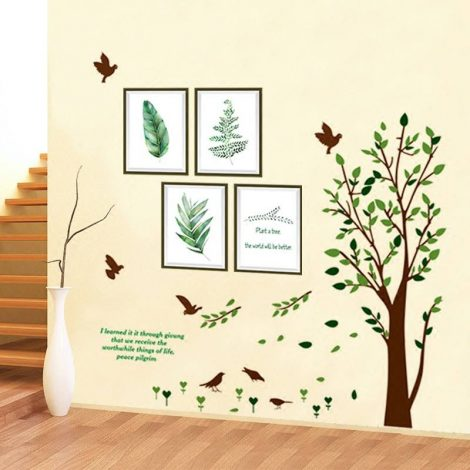 Decal cây và khung ảnh lá nhiệt đới