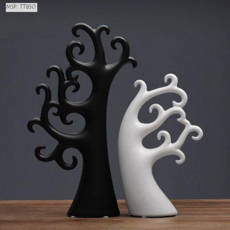 Cây gốm sứ Pachira (đen trắng)